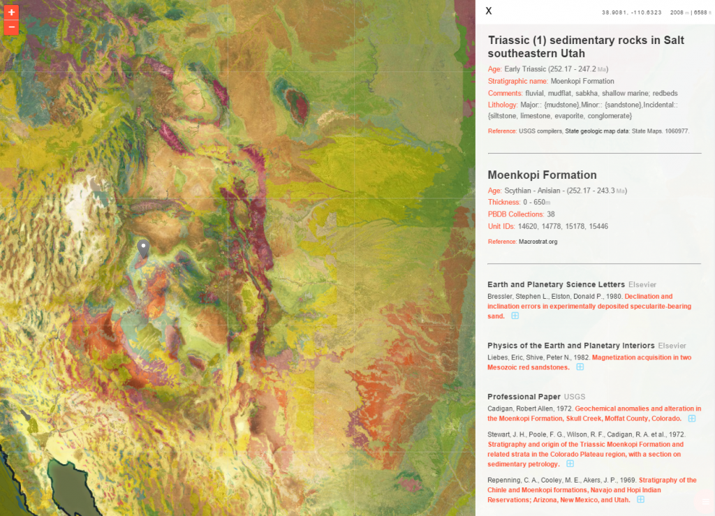 The geology of the American West mapped in great detail, complete with formation descriptions and links to academic articles.