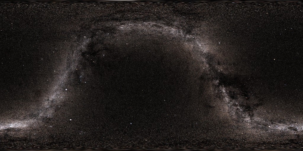 A Mercator-style projection of the night sky.