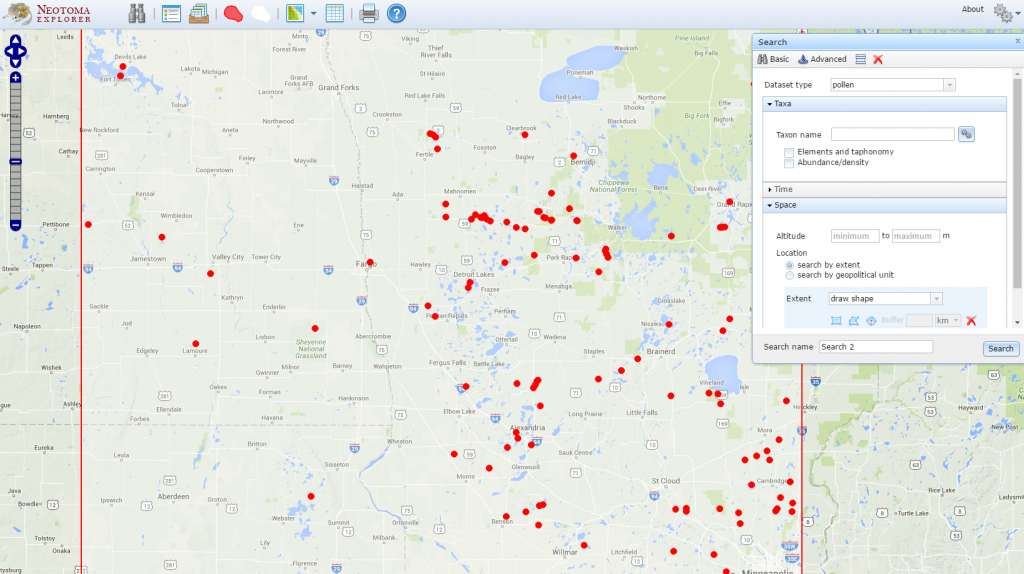 Shown here are places where pollen datasets have been collected by scientists, NW Minnesota.